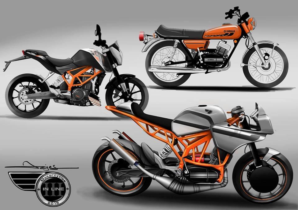 customised modified yamaha rd 350 ktm duke 390 flying sikh 1