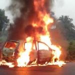 maruti-celerio-diesel-motion-car-catch-fire-driver-honking-video