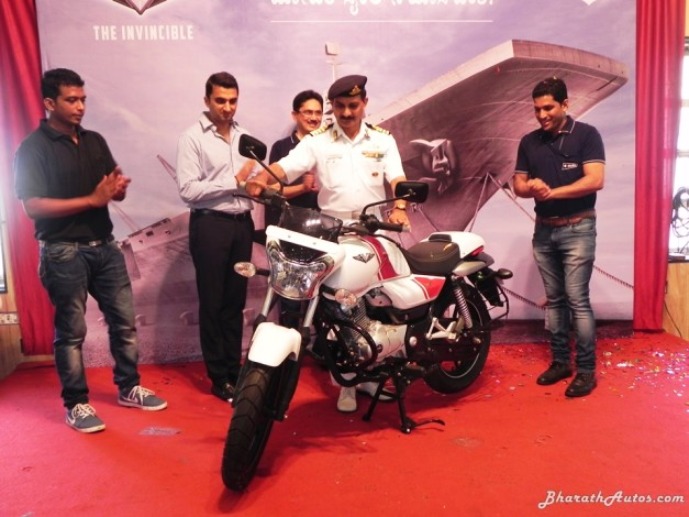 invincible-bajaj-v15-launched-in-mangalore-ins-vikrant-warship-captain-mc-belliappa-indian-navy