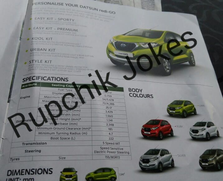 Datsun Redi-Go brochure leaked, just before launch tomorrow