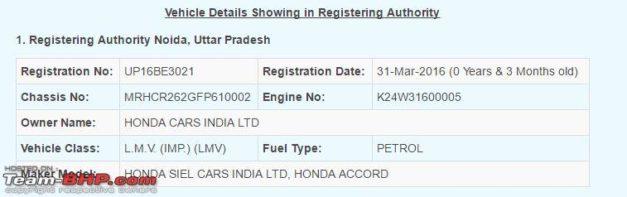 new-2016-honda-accord-9th-generation-facelift-parivahan-seva-registration-india
