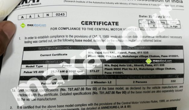 bajaj-pulsar-vs400-leaked-arai-certificate