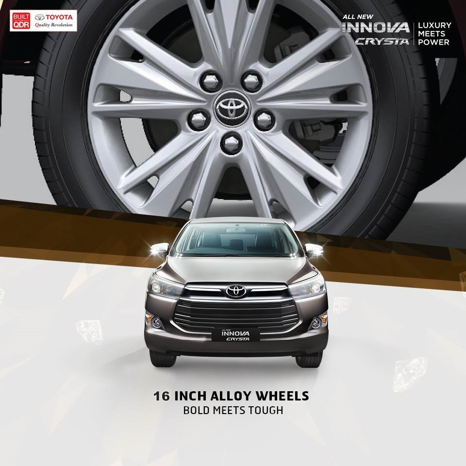 toyota innova crysta zx wheels downsized to 16 from 17-inches