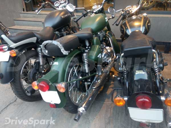 Battle Green Coloured Royal Enfield Clic 500 Sned At A Bangalore Outlet