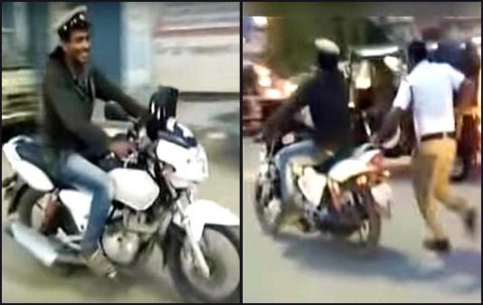 drunk man laughingly stole policeman u0026 39 s bike  then takes