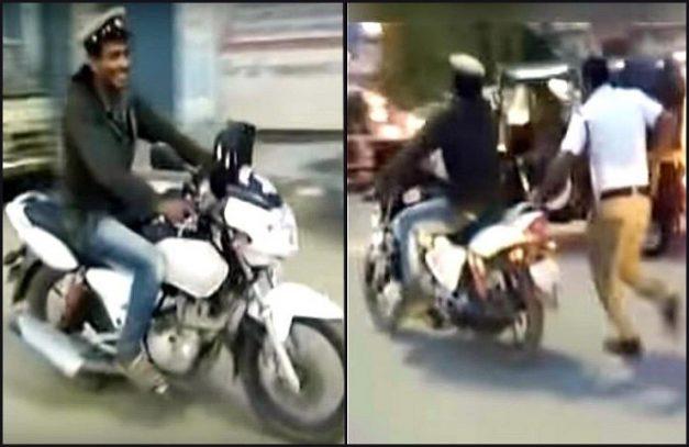 inebriated-man-stole-policemans-motorcycle-cap-hassan-karnataka