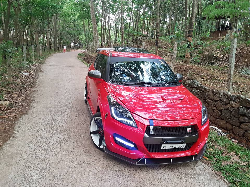 Maruti Swift given the Nissan GT-R treatment, and it looks ...