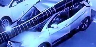 tata-nexon-billboard-pillar-falls-dehradun-passengers-escape-video